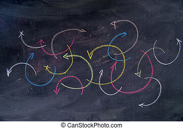 Colored arrows curvilinear - Colorful curved arrows drawn...