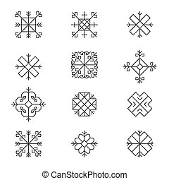 Variations of the ancient Latvian sun sign vector set...