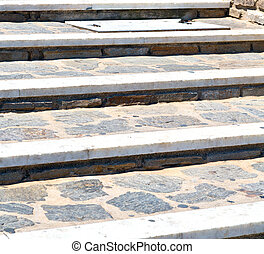 in greece  monument old steps and marble ancien line