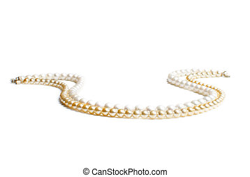 Necklaces | pearl beads - Two necklaces of golden and white...