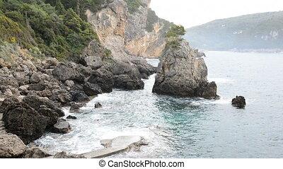 The beach on Ionian Sea, Corfu island, Greece