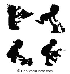 children with toys silhouette illustration