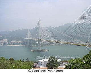 Ting Kau suspension bridge, Lantau link viewing platform,...