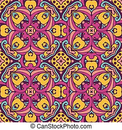 Damask vector festive abstract seamless pattern - Tribal art...