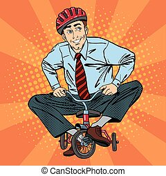 Businessman on Children Bicycle. Businessman Riding a Small Bicycle. Fun at Work. Pop Art. Vector illustration