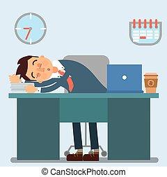 Businessman Working Day. Sleeping Businessman at Work....