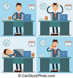 Businessman Working Day. Businessman at Work. Office Life....