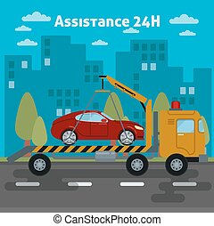 Car Assistance. Roadside Assistance Car. Tow Truck. Vector illustration