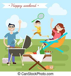 Family Weekend. Happy Family. Barbecue Party. Family Picnic. Family on Vacation. Vector illustration