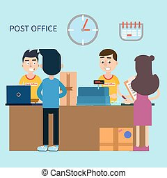 Post Office. Woman Receiving Letter. Postal Service. Man...