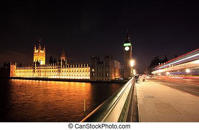Westminster, grande,  Ben, noche