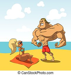 Muscular guy on the beach with a hot girl