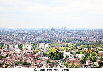 Aerial view cityscape of Brussels from top of atomium