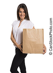 Woman with bag of empty supermarket.