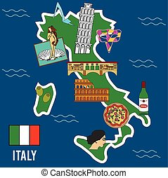 Italy travel set Famous places and symbols of Italy - Italy...