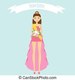 Prom queen flat illustration