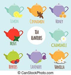 Tea flavours types Different tea tastes and flavours Vector...