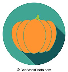 Flat pumpkin icon colorful - Pumpkin Icon colorful flat...