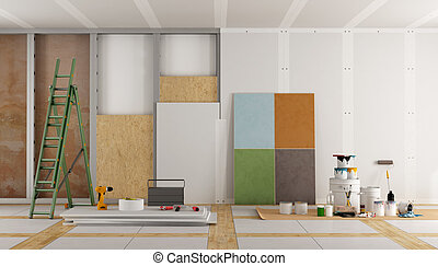 architectural restoration of an old room and selection of...