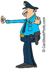 Traffic cop - Illustration of a policeman directing traffic...