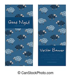 Vector vertical banners with cute sheep Good night cards