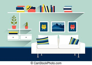 Living room with sofa and book shelves Flat design vector...