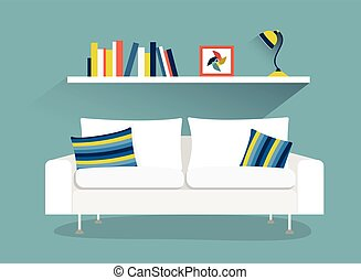 Sofa and book shelf with lamp. Flat design vector illustration.