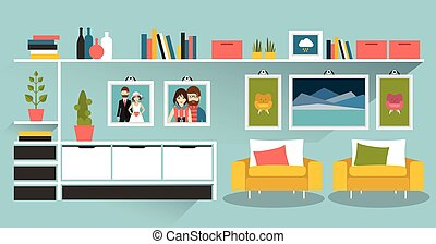 Living room with photo pictures and book shelves Flat design...