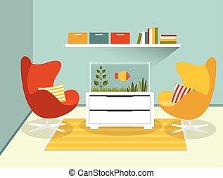 Living room interior with armchairs and aquarium. Flat...