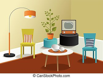 3D living room design. Minmalistic real modern design. Vector.
