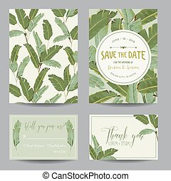 Save the Date Card Tropical Banana Leaves Wedding Card...