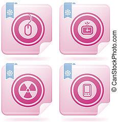 Flamingo Square 2D Icons Set: Abstr