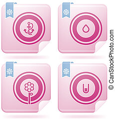 Flamingo Square 2D Icons Set: Abstr