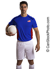 American soccer player holding ball on white background