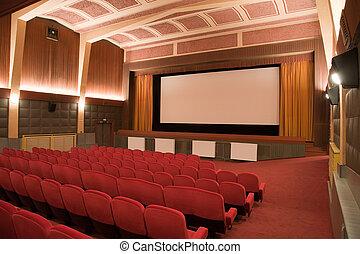 Cinema auditorium - Empty retro cinema auditorium in cubism...