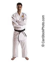 Argentine judo fighter on white background