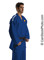 Argentine judo fighter on white background