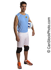 Professional Argentine Volleyball player with ball. Isolated...