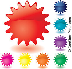 Set of unusual multicolored buttons, part 1, vector illustration