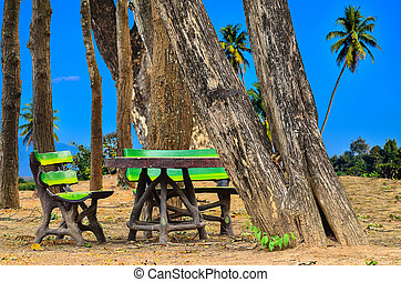 invention bench at pubic park on blue nature background