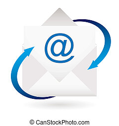 email arrow envelope - email concept with blue arrows and...