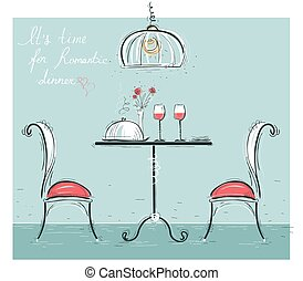 Romantic dinner sketchy color illustration isolated on white.