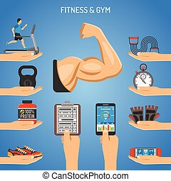 Fitness and Gym Concept - Fitness, Gym, Healthy Lifestyle...
