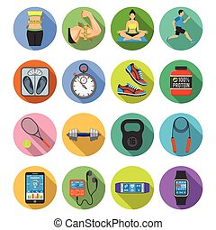 Fitness Icon Set - Fitness, Gym, Health Flat Icons Set with...
