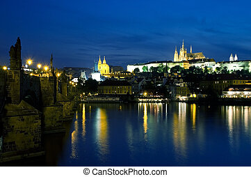 Vltava River at night in Prague - Vltava River and Old Town...