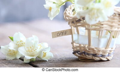 Open sign and flowers - Open sign letter tag or label a...