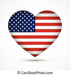 Heart in national american flag colors Heart shape symbol