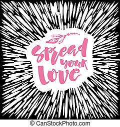 Love and charity concept hand lettering motivation poster...