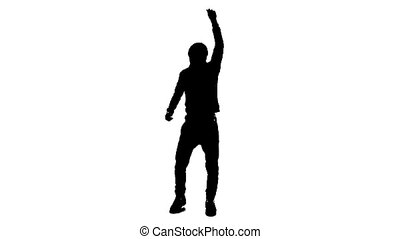 Man dancing silhouette - full length silhouette of a young...