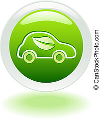 Green Car Web button - Web icon of polution-free automobile...